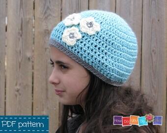 PDF Crochet Pattern, Hat for Girl, Beanie for Girl with flower, Photo Tutorial, Instant Download, Beginner Crochet, Flower Motif, Kids Hat