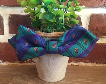 Bow tie blue purple asymmetrical vintage made in France