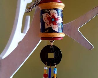 Wooden Spool Keychain /Purse Fob/Christmas Ornament /Vintage Buttons /Feng Shui Charm