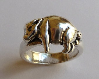 Sterling Silver Little Pig Ring