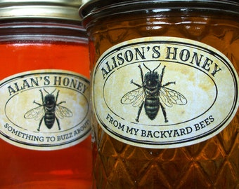 Custom Vintage Seal Oval Honey jar labels for quilted mason jars, customized printed horizontal honey labels for backyard beekeeper gift