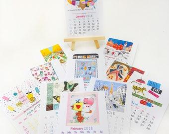 2018 Desk Calendar -- Desk Calendar -- Mini Easel Calendar -- Gift Idea -- Unique gift -- Vintage/Modern Calendar -- For your desk Calendar