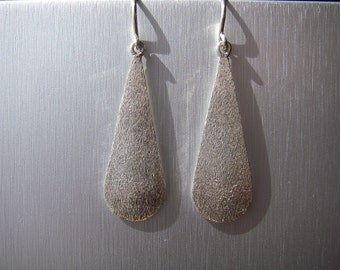 100% Hand Fabricated stone finished Sterling Silver drop earring