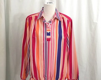 Vintage 80s Bright Striped Da Rue Neil Blouse L