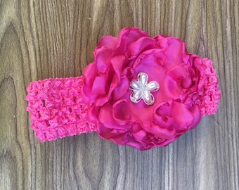 READY TO SHIP Baby Headband, Toddler Headband, Infant Headband, Elastic Baby Headband, Pink Headband, Flower Headband, Kids Hair Accessories