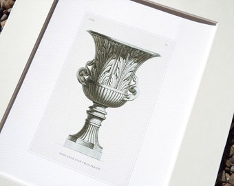 Antique Italian Garden Vase Etching with Snake Handles & Leaf Pattern In Sepia Archival Print
