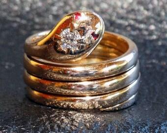 Antique Snake Ring, 14K GoldDiamond Ruby, 13.99 Grams, 1800s Wedding Engagement, Egyptian Revival