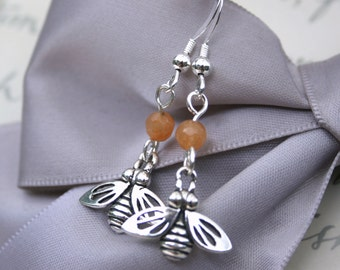 Sterling Honey Bee earrings Sterling silver and Calcite