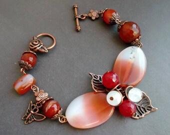 Charm Bracelet Agate Carnelian. Chunky bracelet. bracelet Gemstones stones Gift for women For her Birthday gift For wife For sister For mom