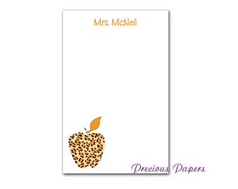 Personalized leopard note pads Teacher note pads Personalized teacher gift Personalized teacher