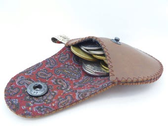 Men's  Change Purse / Vegan Edition Coin Purse Mini Gypsy Guys / Brown Faux Leather and Recycled Silk Tie