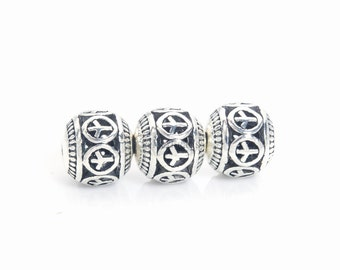 peace sign filigree round beads - peace sign jewelry beads - antique silver alloy beads - peace symbol beads - 8-14mm round beads -20pcs