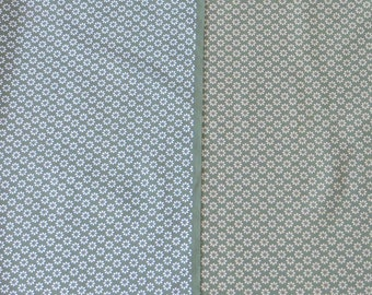 Japanese Cotton Fabric - Reversible Beige / White Pattern on Green