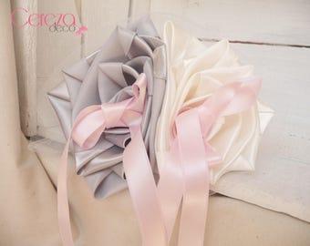 Ring bearer wedding flower ivory & silver, pink tip