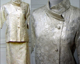 """Ivory & Silver Brocade Dress Suit Vintage 60s Mother of the Bride or Honeymoon Elopement Asian HONG KONG Custom Tailored - Bust 39"""""""