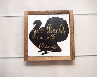 Give Thanks Sign | Turkey Silhouette | Farmhouse Style Home Decor | Fall Decor | Framed Wood Sign | Modern Fall Decor | Rustic Fall Decor