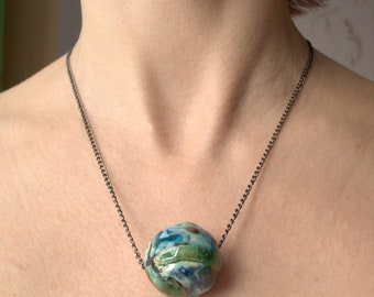"Pendant-bead ""Earth"", Necklace of ceramic beads with hand painted, Ceramic Artistic jewelry, Beads handmade, Ceramic necklace"