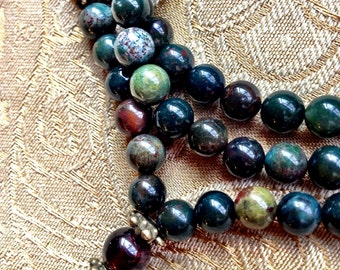 Garnet and Bloodstone Mala Necklace - Buddhist Bloodstone Rosary Necklace - Courage and Creative Manifestation