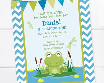 Frog invitations etsy frog birthday invitation frog birthday first birthday princess and the frog printable filmwisefo Images