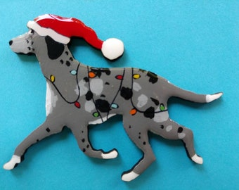 Catahoula Leopard Dog Christmas Pin, Magnet or Ornament-Color Choice-Free Shipping-Hand Painted- Free Personalization Available