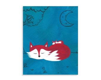 "Baby Fox Print - ""Peaceful Slumber"" - Fox Nursery Art"