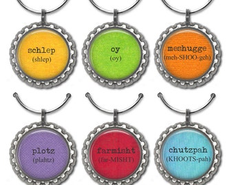 Yiddish word wine glass charms, Jewish humor party favor, drink tag, Hanukkah gift.