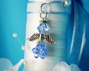Something Blue Wedding Bouquet Charm Swarovski Crystal Angel Bridal Bouquet Charm