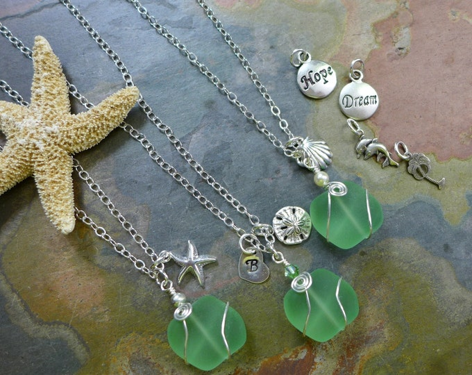 Beach Glass Necklace, Light Green Sea Glass Necklace with Sea themed Charms andInitial Charm, Beach Weddings, Bridesmaid Necklace/jewelry