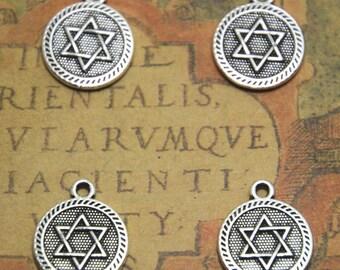 20pcs Star of David charms silver tone 6 pointed star hexagram charm pendants 18x15mm ASD1434