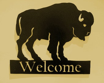 Buffalo,Southwest,Welcome Sign,Metal Art,Business,Bison,Gift,Wall accent