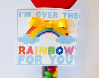 Valentine PRINTABLE Tag 'I'm Over The Rainbow For You' Valentine Tag (INSTANT DOWNLOAD) by Love The Day