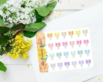 Bow Clips Planner Stickers II Bow Stickers II Paper Clip Stickers II Rainbow Bows