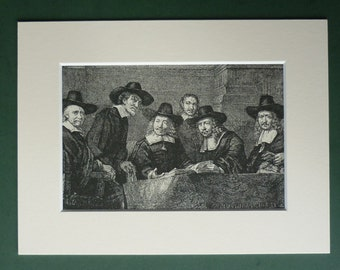 1886 Antique Print Of The Five Syndics By Rembrandt - Court Of Justice - Fine Art Print - Renaissance Art - Vintage Print - Engraving