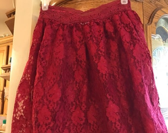 Maroon red skirt