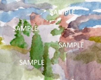 Scenery Watercolor Painting DIGITAL DOWNLOAD
