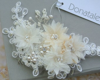 ON SALE   Wedding Hair piece, Bridal Headpiece, Wedding Hair Comb, Beaded Lace Headpiece, Ivory  Champagne, Wedding Accessories UK