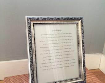 Elegantly framed custom-written poem in 8 X 10 frame