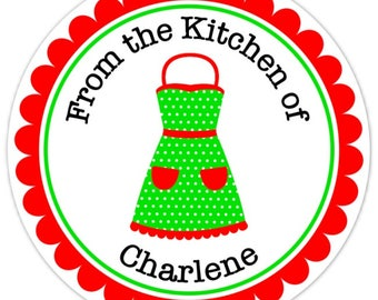 From The Kitchen Custom Labels, Cute Red and Green Apron Stickers - 2.5 inch round - Personalized for YOU