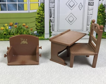 MAPLE TOWN FURNITURE, Chair, Desk, Swing, 1980's Ban Dai, Vintage Playset or Dollhouse Pieces