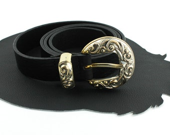 Black Leather Western Belt - Size Large 31 to 35 inches