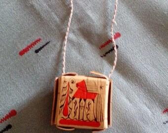 Protection amulet, sharkunok, Hand painted brush, Natural necklace, wood pendant, woodland charm, painted wood necklace, birch bark necklace
