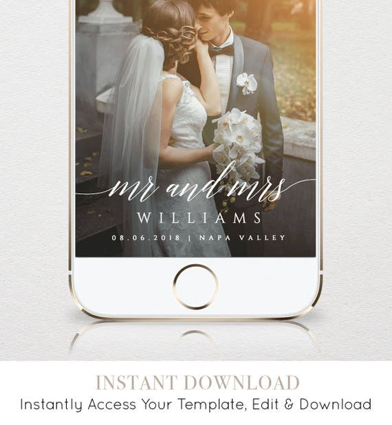 Mr. and Mrs. SnapChat Geofilter - Download Instantly & Edit Yourself
