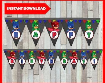 Printable Pj Masks Chalkboard Banner Instant Download, Pj Masks Banner,  Printable Chalkboard Pj Masks Triangle Banner