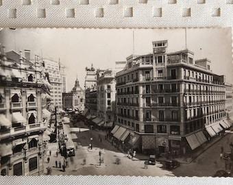 SPAIN postcard - Madrid // vintage black and white Spanish travel photography - Seville Street - Calle de Sevilla // Garcia Garrabella