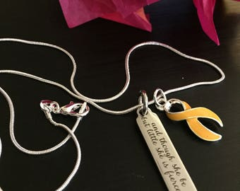 Little but Fierce Necklace / Gold Ribbon Charm - Childhood Cancer Survivor / Awareness Jewelry