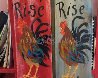 CHEEPER by the Dozen Rooster/Hen signs set #1 (12) Multi Color Rooster