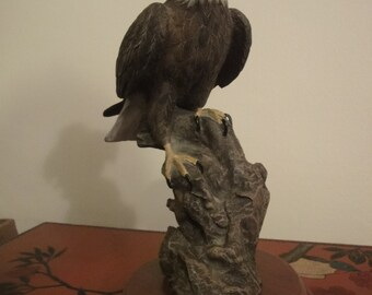 limited edtion of a vintage sculpture of American Bald Eagle  carved by  MA HAL FENG