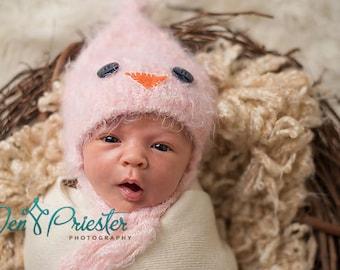 Baby Hat, Chick Hat, Newborn Baby Hat, Baby Photo Prop, Knit Newborn Hat, Pink Bird Baby Hat, Baby Photo Prop
