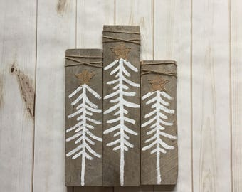 Rustic christmas trees set of 3, wooden rustic christmas tree decor, wooden cheiatmas trees, rustuc christmas decorations, rustic christmas