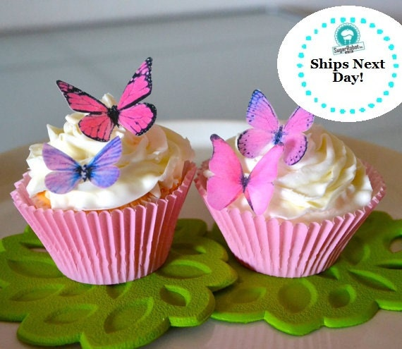Wedding Cake Topper 12 Small Pink and Purple Edible Buttterflies for Cupcakes and Cakes - Edible Butterfly Wedding Cake Decoration